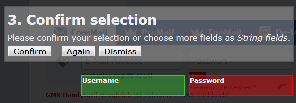 keepassxc browser select fields