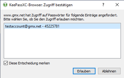 keepassxc browser zuweisung logindaten